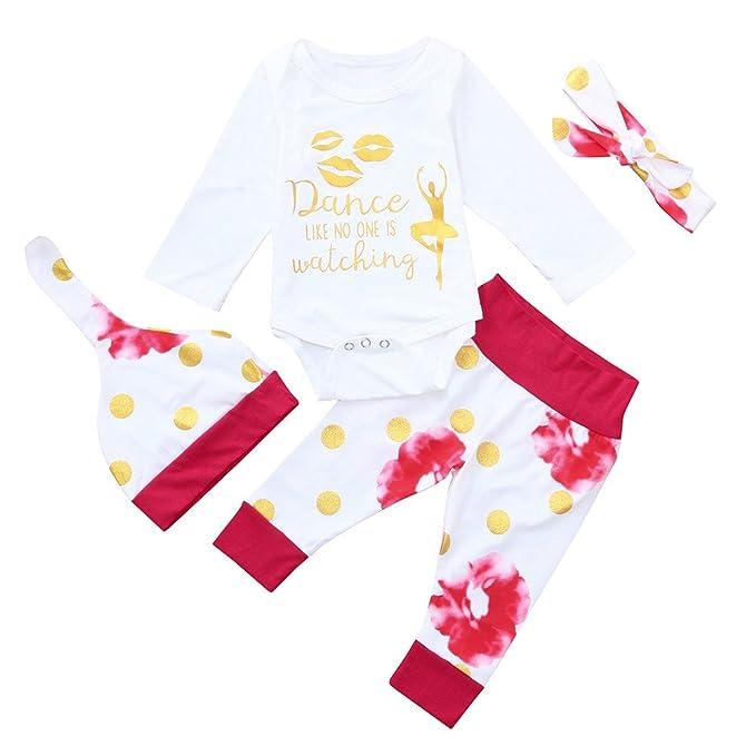 b1a027ba0 PLOT 4Pcs Baby Girls Boys Romper Jumpsuit+Pants+Hat+Headbands Clothes  Outfit 0-2T: Amazon.co.uk: Clothing