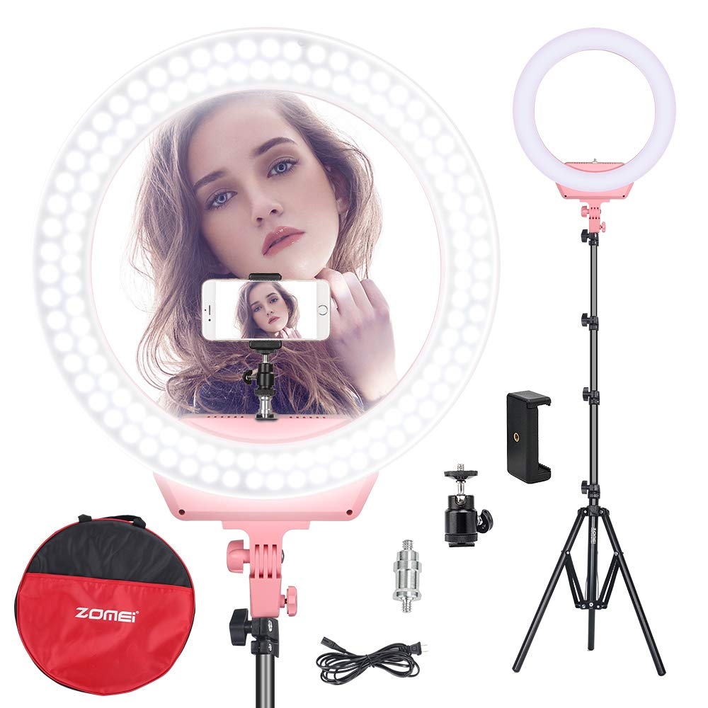 ZOMEI Ring Light Kit,16 inch Ring Light with Stand,LED Dimmable 50W Adjustable 3200-5500K Carrying Bag for Camera Smartphone, You Tube,Self-Portrait Shooting Good for Beauty Facial Make Up Live Stream by ZoMei