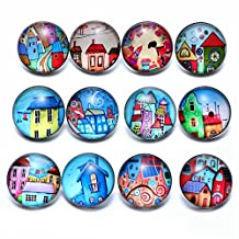 12pcs/lot Fairytale Town Theme Glass Snap Charms 18mm Ginger Snap Button For 20mm Snap Bracelet Snap Jewelry KZ0683 (KZ0683a)