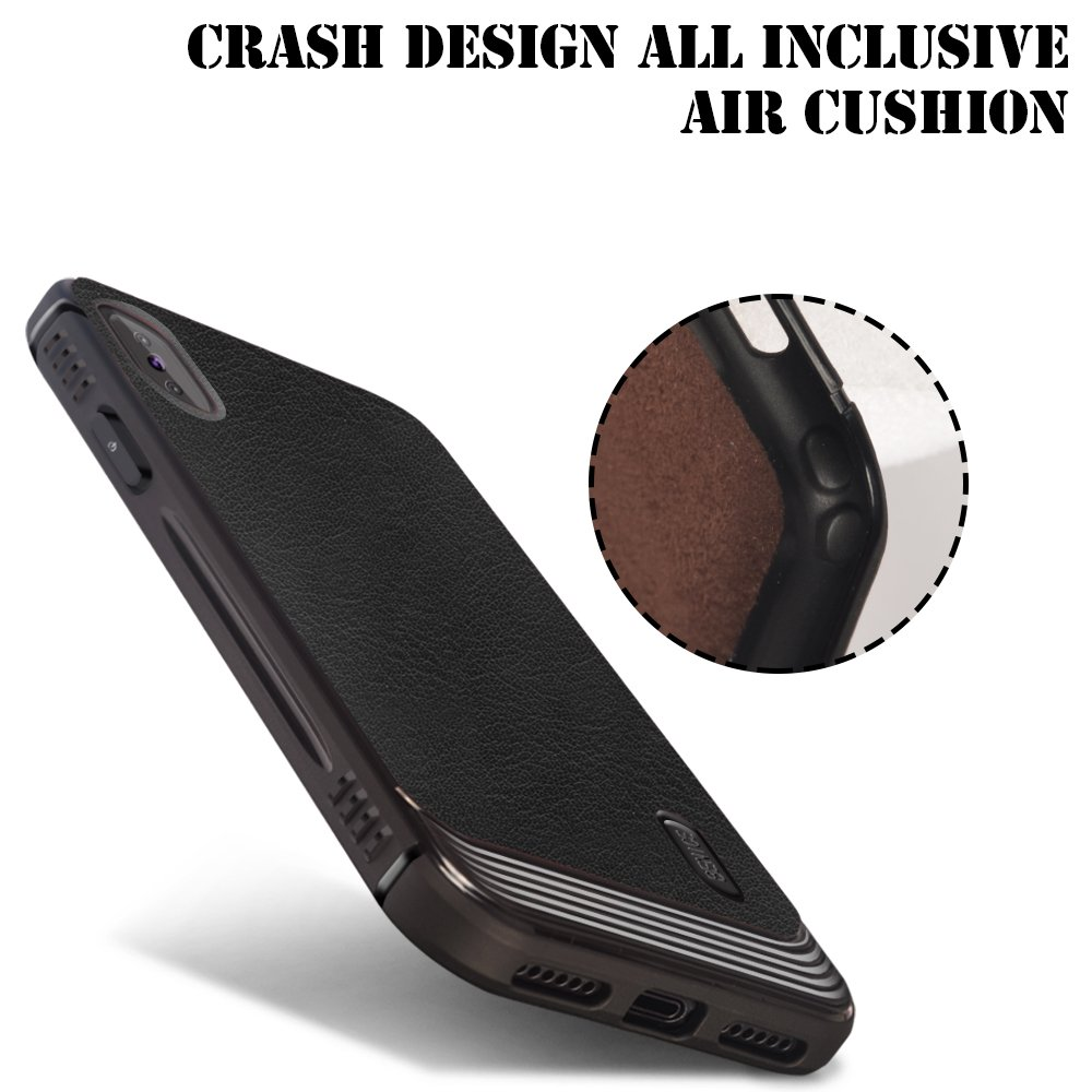 iPhone X case, MagicSky Ultra Slim Premium PU Leather Shock-absorbing Protective Bumper Case Cover with Built-in Nickel Metal Plate work with Universal Magnetic Phone Car Mount Holder - Black