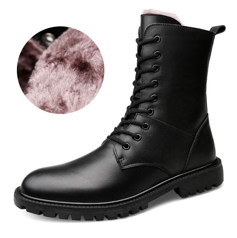 Herren Martin Ankle Stiefel, Herbst Winter Pelz gefüttert Baumwollschuhe im Freien Militärstiefel Große Leder Taktische Militärstiefel
