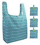 Reusable Grocery Bags Set of 3, Grocery Tote Foldable into Attached Pouch, Ripstop Polyester Reusable Shopping Bags, Washable, Durable and Lightweight (Blue Chevron)