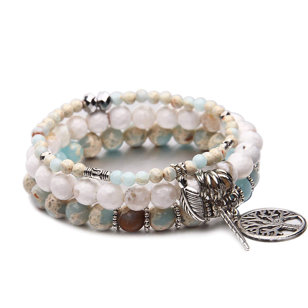 Tree of Life Turquoise Jasper & Tibetan Agate Gemstone Chakra Beaded Bracelet | Beach Charm Bracelet Set - Ocean Jewelry (Sky Blue)