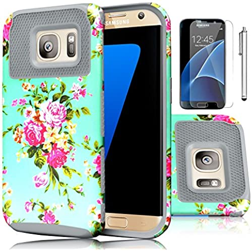 Galaxy S7 Case,EC 2-Piece Extra Slim Hybrid Dual Layer Hard Cover Case for Samsung Galaxy S7 2016 Release (Flower-Grey) Sales
