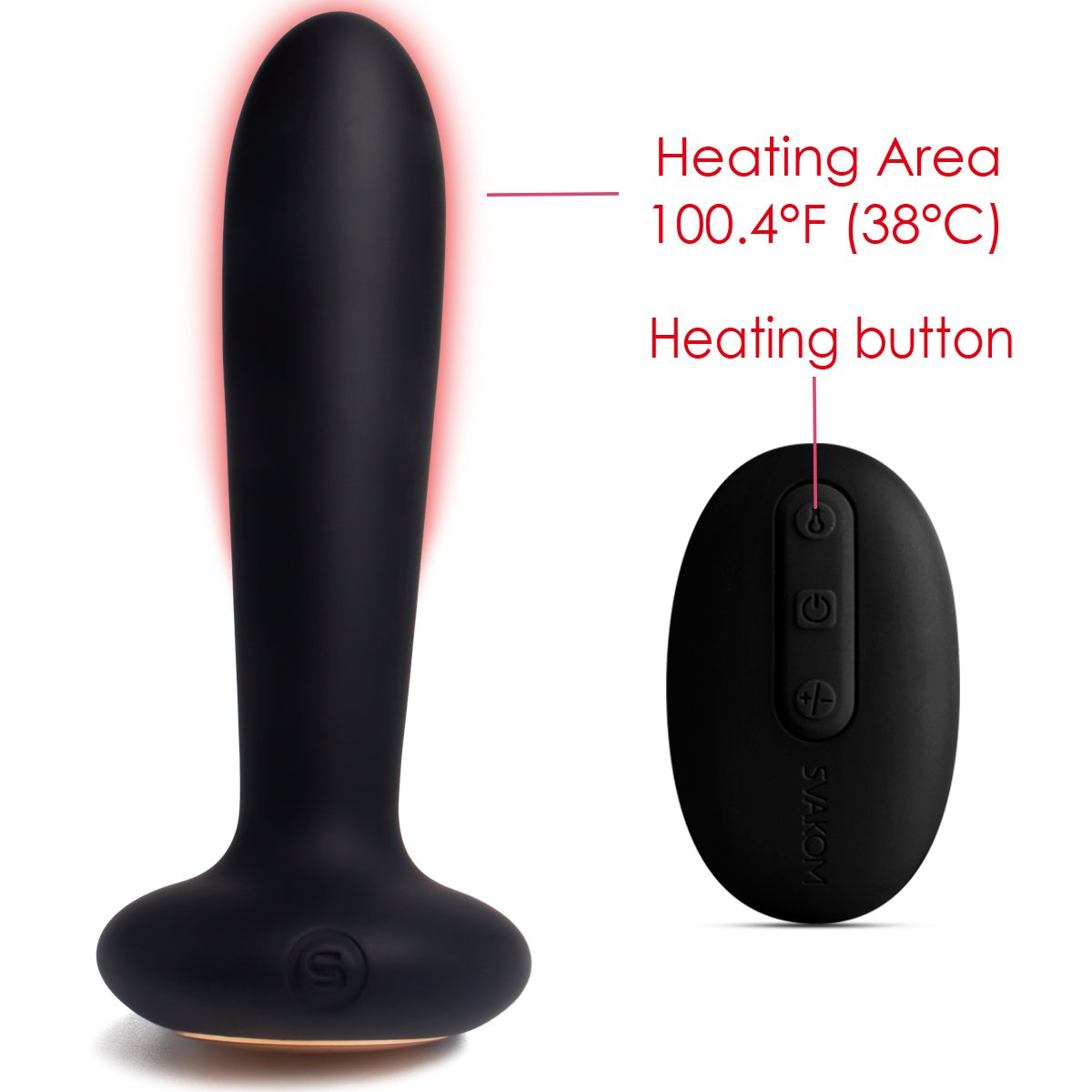 Heating Function Vibrating Anal Plug and Prostate Massager With Remote Control - Rechargeable & Waterproof - Body Safe Silicone Quiet yet Powerful Vibrator for Men Women or Couples (Black)