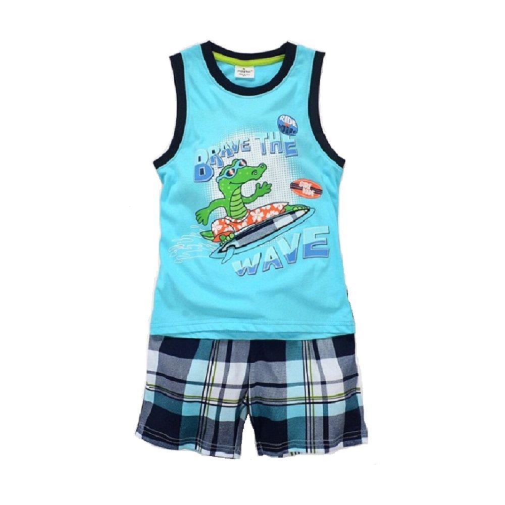 Hooyi Baby Boy Sleepwear Cotton Children Sleeveless Crocodile Pajamas Set