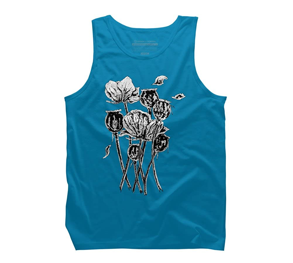 Design By Humans Opium Poppies Mens Graphic Tank Top