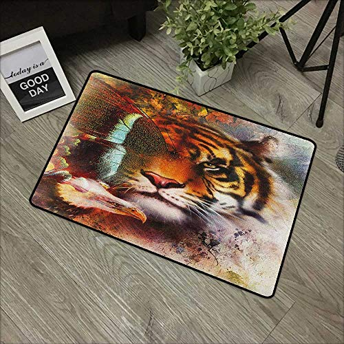 Living room door mat W24 x L35 INCH Tiger,Various Symbols of Nature Large Bengal Cat Bald Eagle Butterfly on Vibrant Backdrop, Multicolor Easy to clean, no deformation, no fading Non-slip Door Mat Car (Best Bengal Cat Breeders)