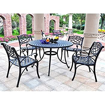 This Item Crosley Furniture Sedona 5 Piece Solid Cast Aluminum Outdoor  Dining Set With 48 Inch Table And 4 Arm Chairs   Black