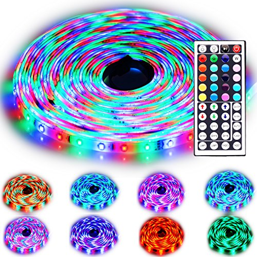 Rxment Led Strip Lighting 10M 32.8 Ft 3528 RGB 600LEDs IP65 Waterproof Flexible Color Changing Full Kit with 44 Keys IR Remote Controller , Control Box ,24V 3A Power Supply for Home Decorative (Flexible Led Lighting compare prices)