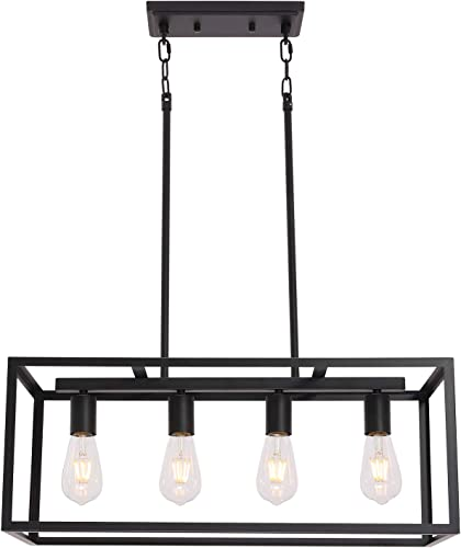 VINLUZ 4 Light Kitchen Island Pendant Light Black Modern Chandelier Industrial Ceiling Hanging Light Fixture