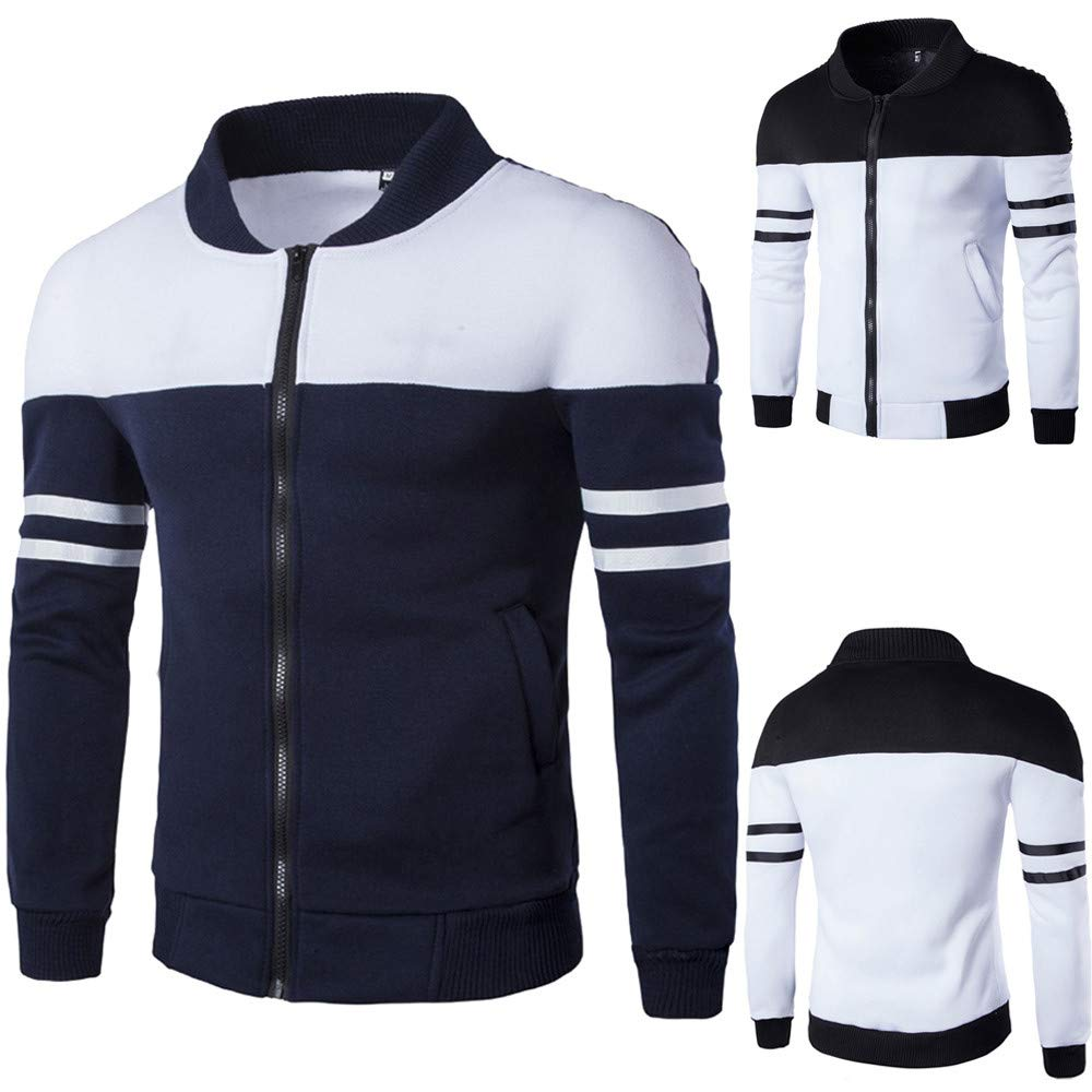 Amazon.com: Dreamyth Mens Autumn Winter Zipper Sportswear Patchwork Jacket Long Sleeve Coat: Sports & Outdoors