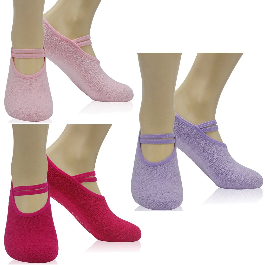 Women's Ballet Style No Show Low Cut Hospital Slipper Socks Great for Barre Pilates Yoga with Non Skid Grips Forfoot Pack of 3 Light Purple/Pink/Rose Red