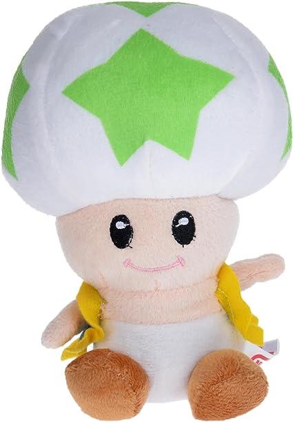 Amazon Com Super Mario Bros Green Star 7 Mushroom Toad Stuffed