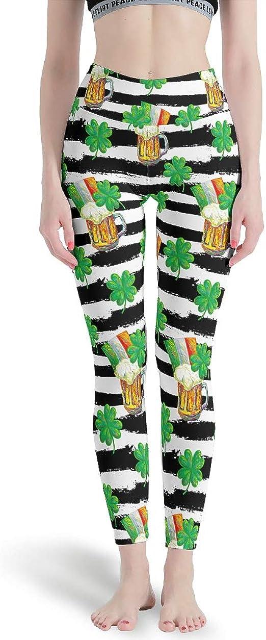 Custom Leggings Women High Waist Soft Yoga Workout Stretch Printed Leaf and Flower Stretchy Capris Pants