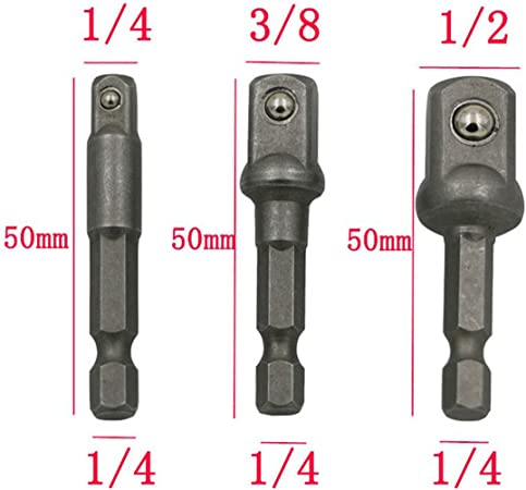 "4PCS//Set Drill Socket Adapter To 1//4/"" 3//8/"" 1//2/"" Impact Hex Driver Blts Bit Tools"