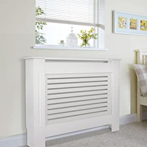 Hondony Radiator Cover, Small White Painted MDF Cabinet, Additional Shelf Space, Wooden Cabinet Radiator Shelve for Living Room Bedroom Hallway(81×78×19cm)