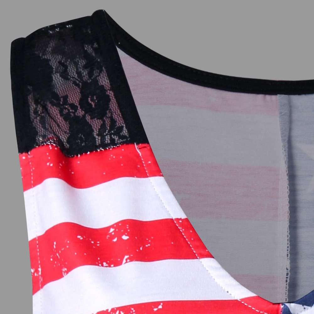 JFLYOU Women American Flag Print Lace Loose Casual Insert V-Neck Tank Tops Shirt Blouse(Multicolor,2XL) by JFLYOU-tank top (Image #3)