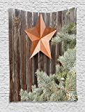 asddcdfdd Primitive Country Decor Tapestry, Big Orange Star on Rough Wood Fences Pine Branches Print, Wall Hanging for Bedroom Living Room Dorm, 60 W X 80 L Inches, Orange Green Brown