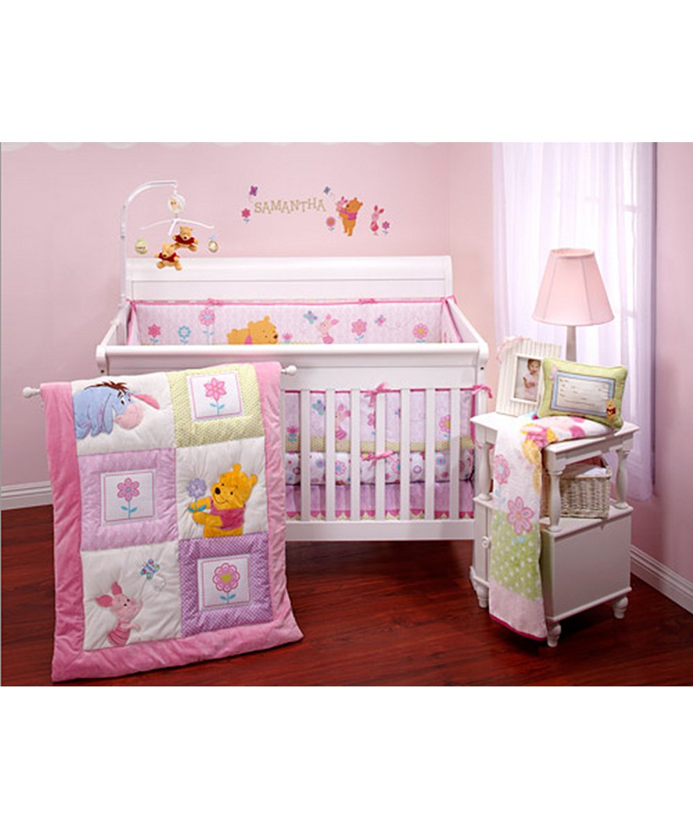 Winnie the pooh toddler bedding - Amazon Com Disney Winnie The Pooh Sweet As Hunny 3pc Crib Baby Nursery Bedding Set Pink With Purple Green Accents Baby Comforter Baby