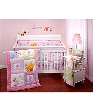 Disney Winnie The Pooh Sweet As Hunny 3pc Crib Baby Nursery Bedding Set Pink With Purple Green Accents