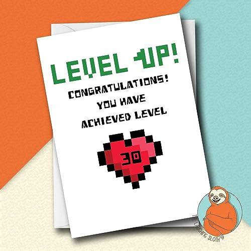Pixel Heart Level Up Gamer Birthday Card Amazon Handmade