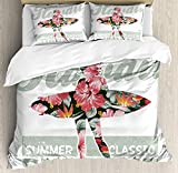 Funy Decor Hawaiian Bedding Set,Tropical Hawaii Hibiscus Surfing Girl Silhouette Surfboard Retro Themed Artprint,4 Piece Duvet Cover Set Bedspread for Childrens/Kids/Teens/Adults,Coral Green Twin Size