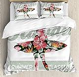 Hawaiian Bedding Comforter Set,4 Piece Duvet Cover Set with Zipper Closure,Tropical Hawaii Hibiscus Surfing Girl Silhouette Surfboard Retro Themed Artprint Bedspread,Coral Green Twin Size