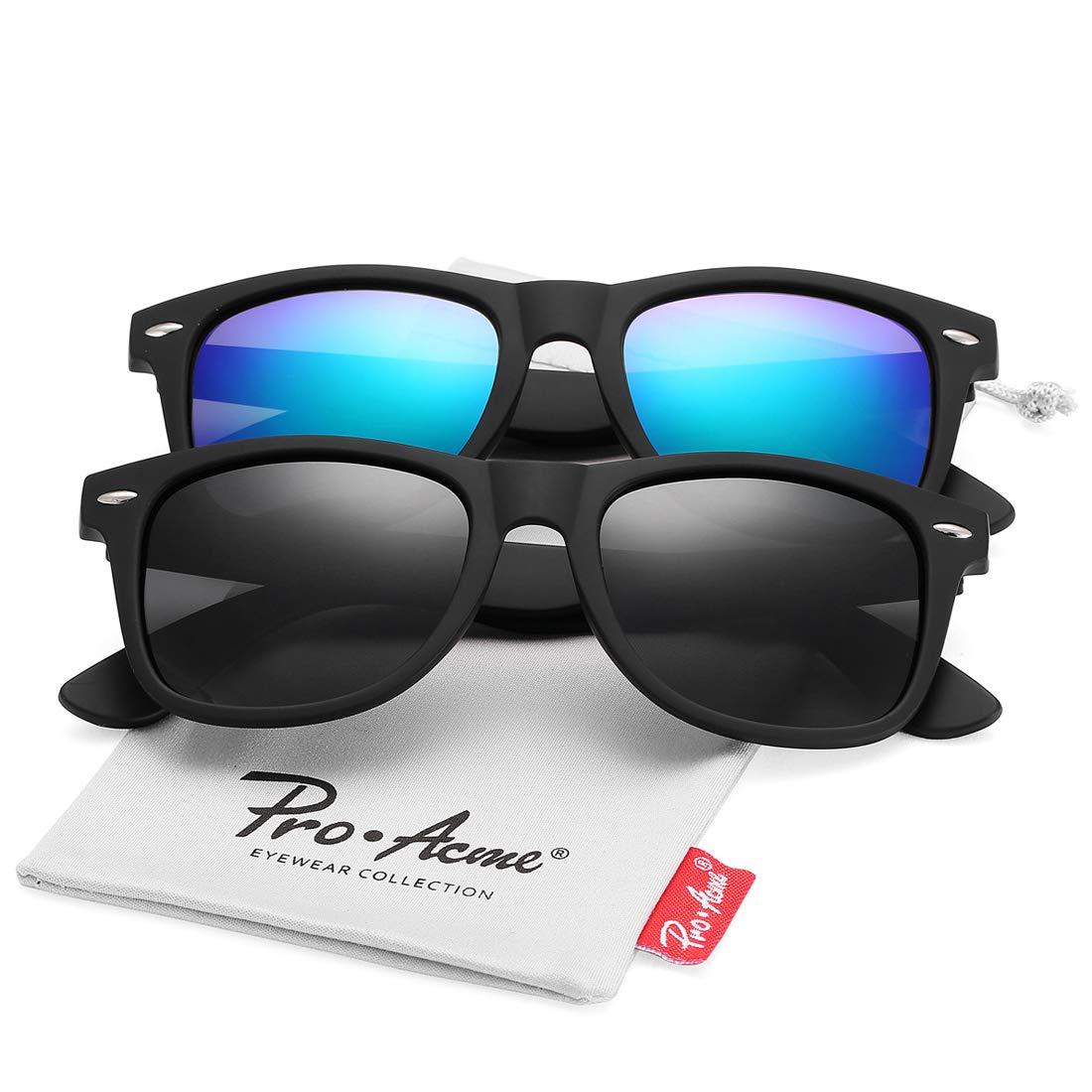 Pro Acme (Pack of 2) Polarized Wayfarer Sunglasses for Men Women (Black Lens +Green Mirrored Lens)