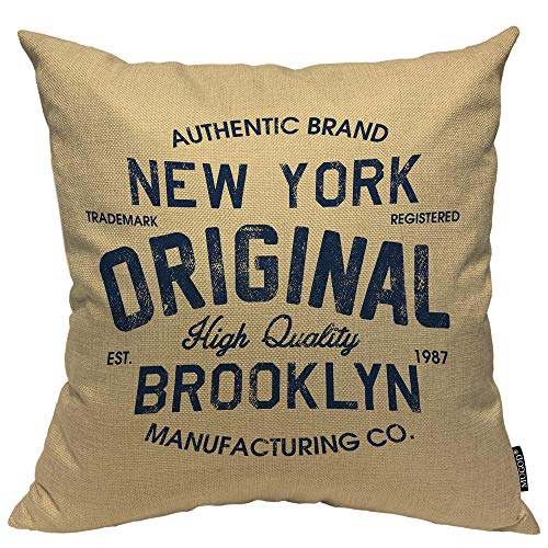 Mugod Original Lettering Decorative Pillow Case New York Brooklyn Vintage Throw Pillow Cover Home Decor Cotton Linen Square Cushion Cover for Couch Bed Sofa 18X18 Inch (York New Pillows Throw)