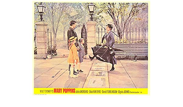 Mary Poppins original lobby card Julie Andrews in white dress as Mary
