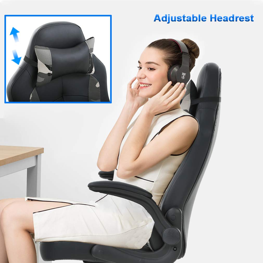 PC Gaming Chair Ergonomic Office Chair Desk Chair PU Leather Racing Chair Executive Swivel Rolling Computer Chair with Lumbar Support Flip Up Arms Headrest for Adults,Camo by BestOffice (Image #3)