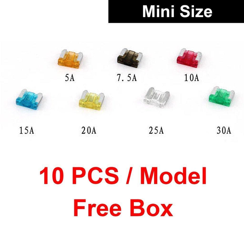 Auto Mini Mediano Tamaño Lámina Fusible 70pcs 5A 7.5A 10A 15A 20A 25A 30A Surtido Set: Amazon.es: Electrónica