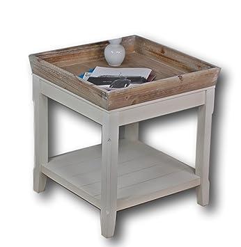 Elbmobel Couchtisch Weiss Und Das Holz Tablett In Braun Buche 50 X