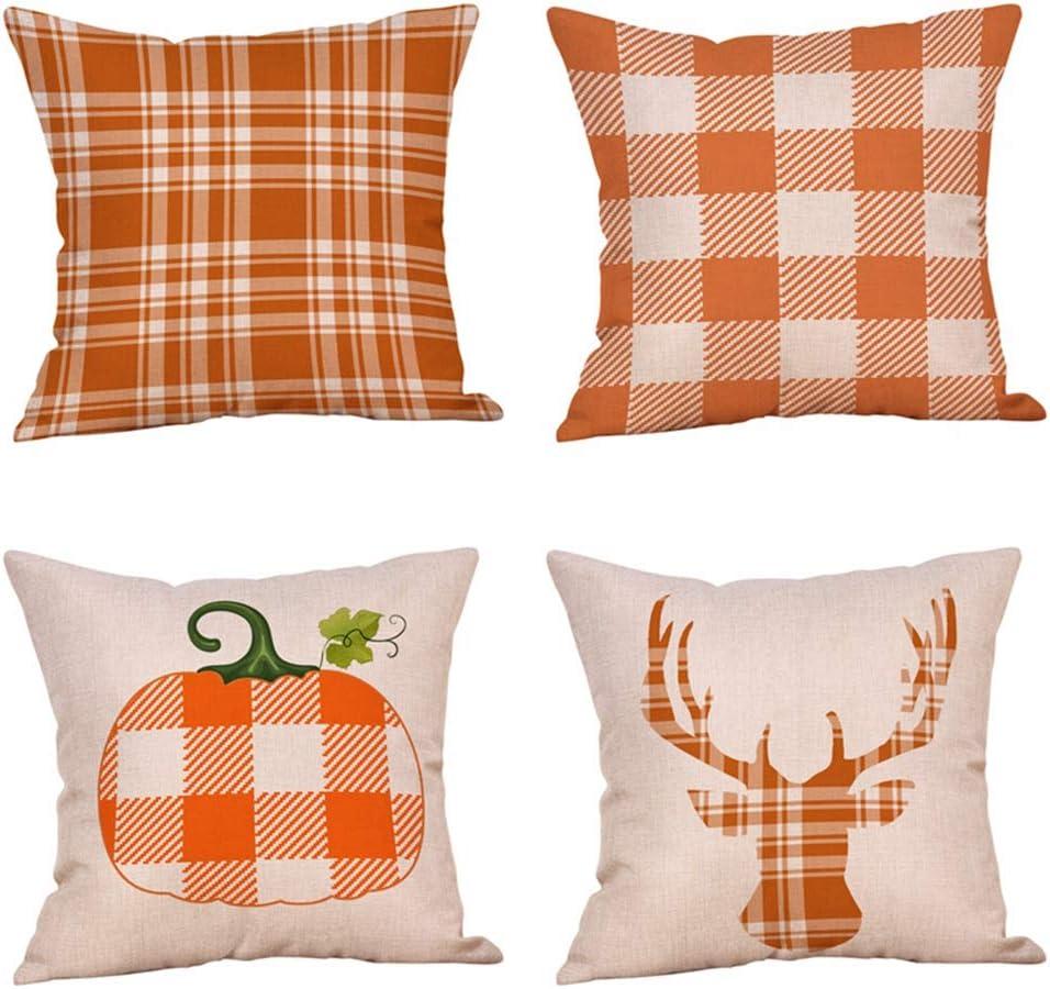 4 Pack Classic Retro Checkers Plaids Throw Pillow Covers Pumpkin Deer Fall Seasonal Decorative Pillow Case Soft Cotton Linen Farmhouse Decor Cushion Cover for Sofa Bedroom Car 18 x 18 (Buffalo Check)