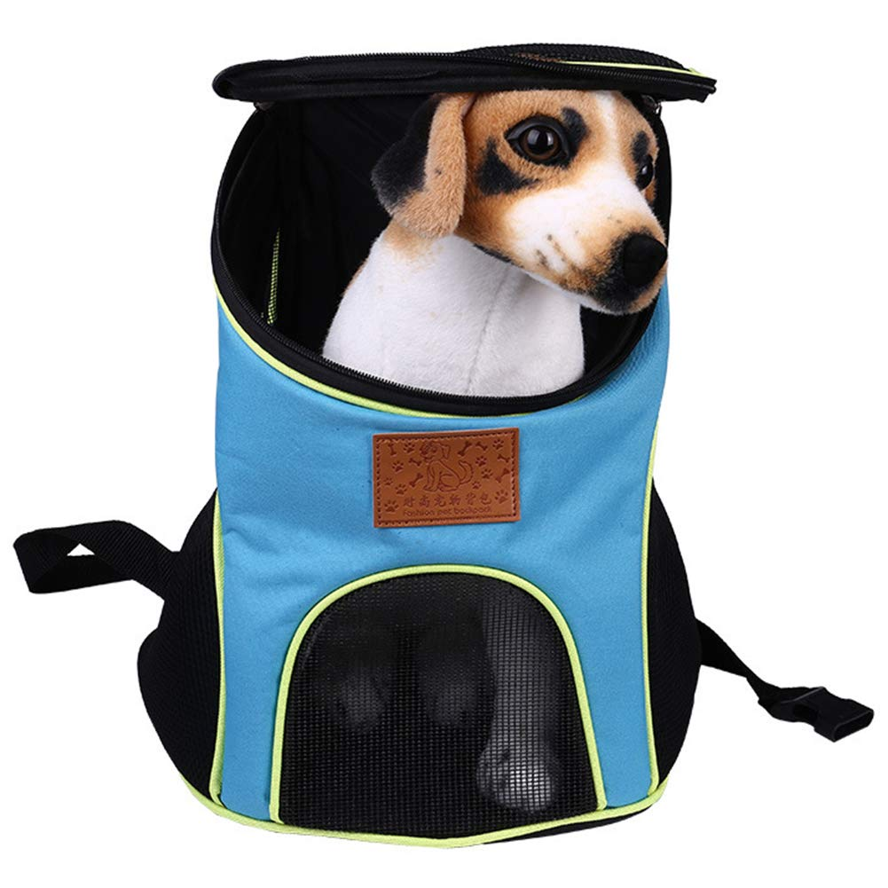 bluee WQING Backpac Foldable Waterproof Pet Rucksack Puppy Cat Soft Sided Travel Bag Padded Top Open Breathable