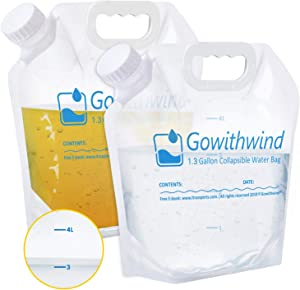 Gowithwind Collapsible Water Container Bag with Graduate, Food Grade Water Storage Jug for Camping Hiking RV Hurricane Earthquake Emergency Survival, Freezable Foldable Water Bottle