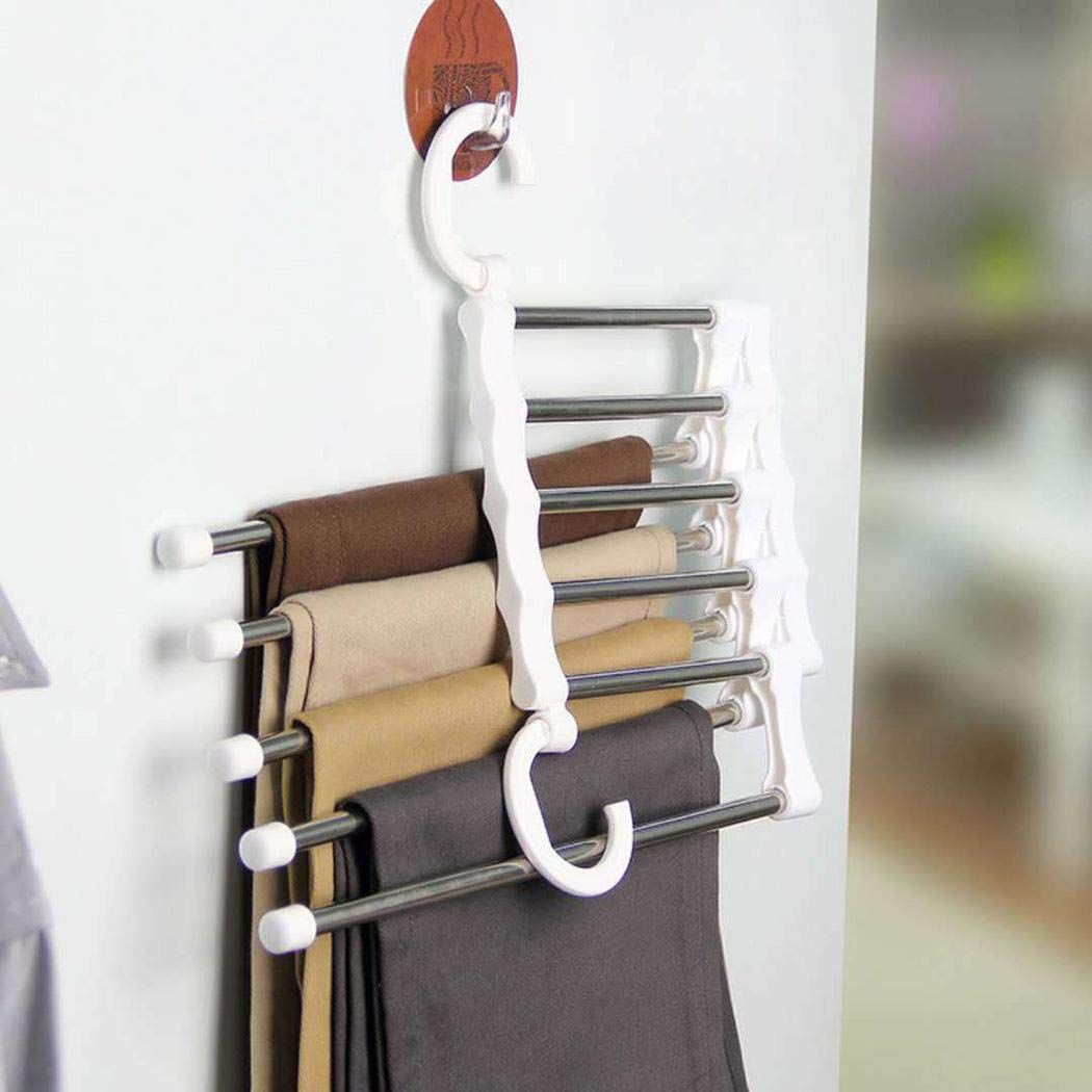 Yuikled Multi Layers Hangers Closet Jeans Trousers Storage Organizer Rack Standing Shelf Units