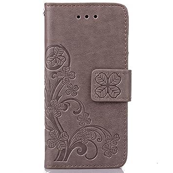 SRY-Bolsa para teléfono móvil caso del iPhone 5c, caso trébol afortunado del cuero de la ...