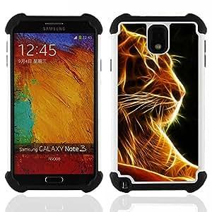 """Pulsar ( Tigre Negro Naranja Fuego Animal Felino"""" ) Samsung Galaxy Note 3 III N9000 N9002 N9005 híbrida Heavy Duty Impact pesado deber de protección a los choques caso Carcasa de parachoques"""