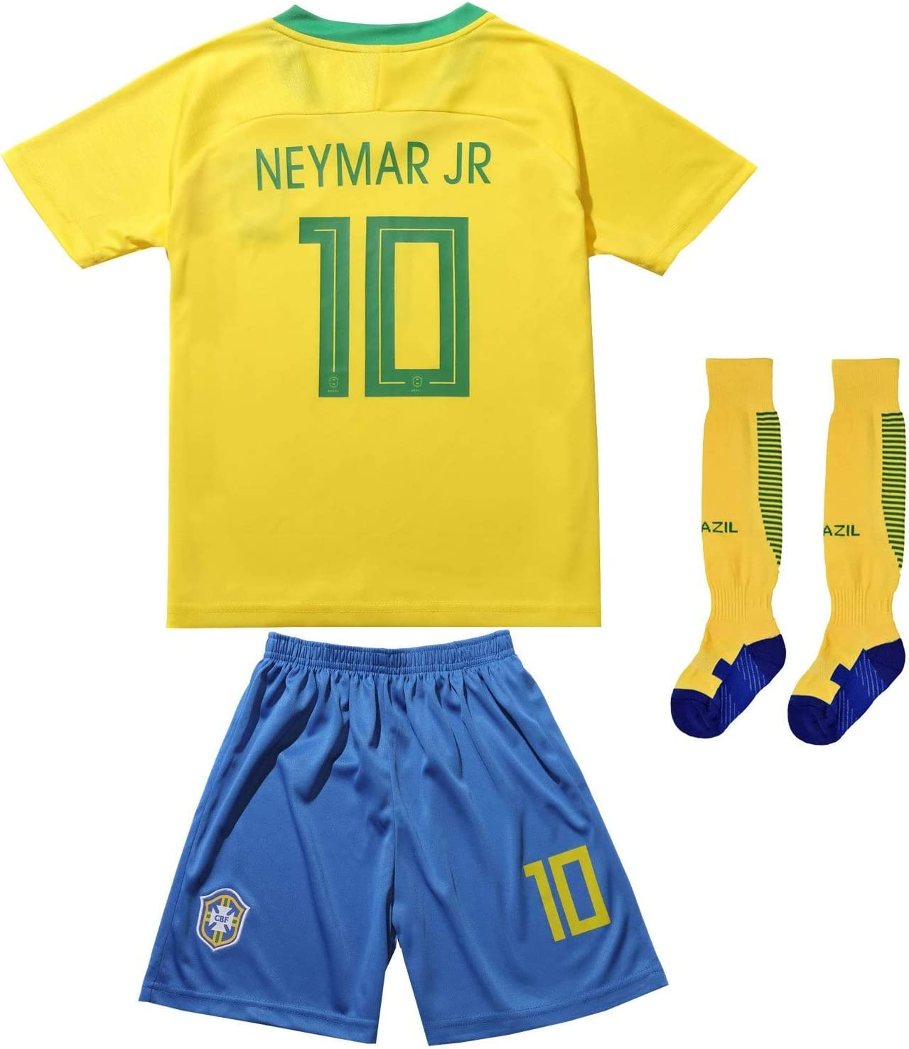FCB 2018 Brazil #10 Home Yellow Kids Soccer Football Jersey Gift Set Youth Sizes