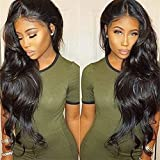 Pre Plucked 360 Lace Human Hair Wig Body Wave Human Hair Wigs-Glueless Brazilian Virgin Natural Color Wigs with Baby Hair (18inch)