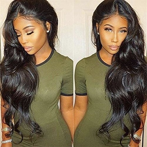 Pre Plucked 360 Lace Human Hair Wig Body Wave Human Hair Wigs-Glueless Brazilian Virgin Natural Color Wigs with Baby Hair (18inch) by DLW Hair