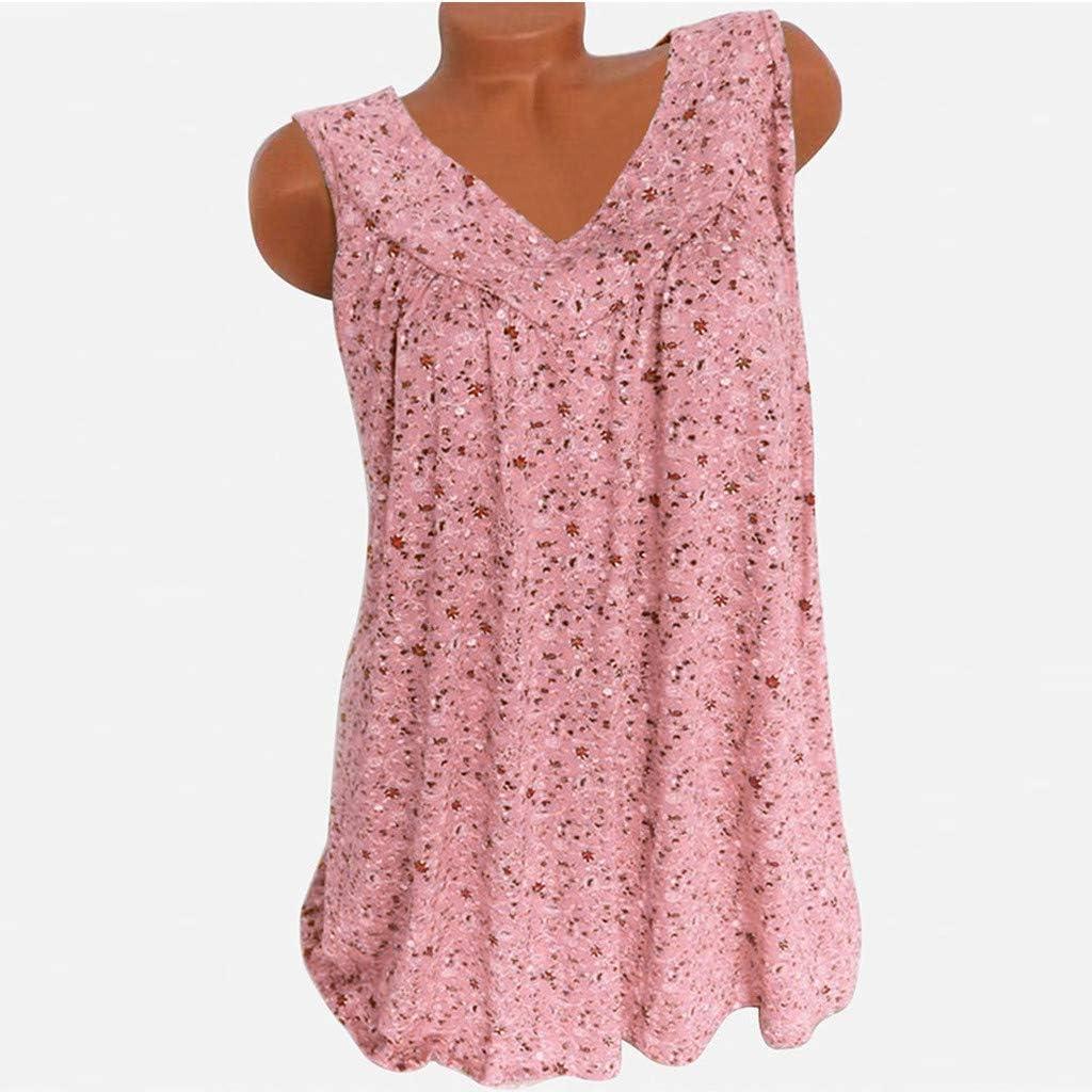 F/_Gotal Women Plus Size Bohemia V Collar Printed Tanks Broken Flowers Sleeveless Leisure Vest Shirt Tank Top Tunic