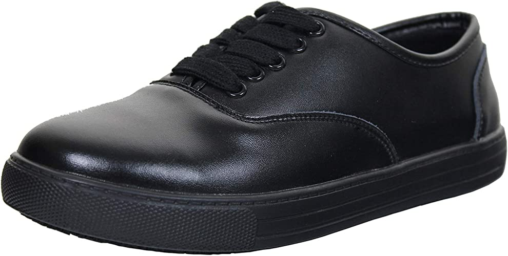 Womens Lightweight Leather Shoes Lace Up Black Work Shoes Comfort Shoes Casuals