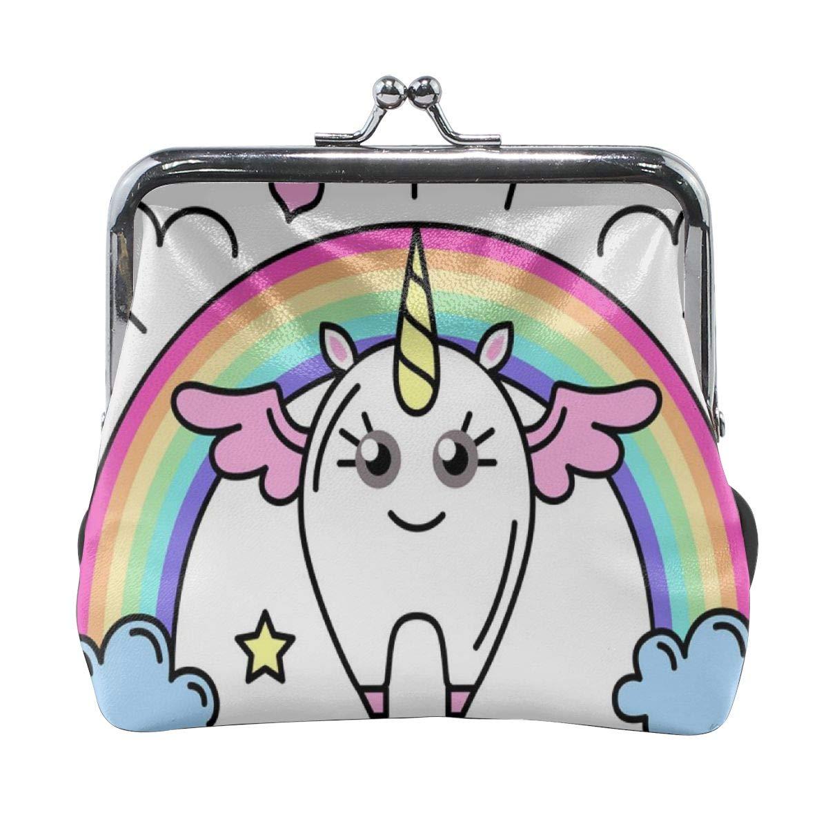Girl Kiss And Buckle Change Purse Ladys HandbagCute One-horned Cartoon Animal Rainbow White Personality Metal Lock Purse Architd Customized Cute Retro Coin Purse