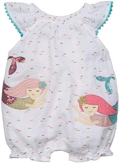 Mud Pie Baby Girls Mermaid Flutter Sleeve Bubble Romper Playwear
