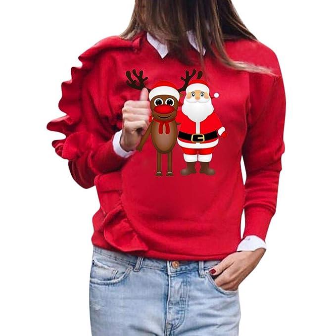 sito affidabile 2dd56 c7960 Maglione Donna Stampa Foglia di Loto Maglioni Babbo Natale ...