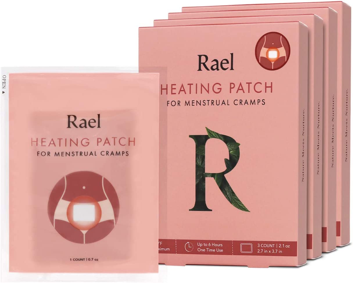 Rael Natural Herbal Heating Patch - PMS Relief Natural Heating Herb Therapy Patches (4Pack/ 12 Count)