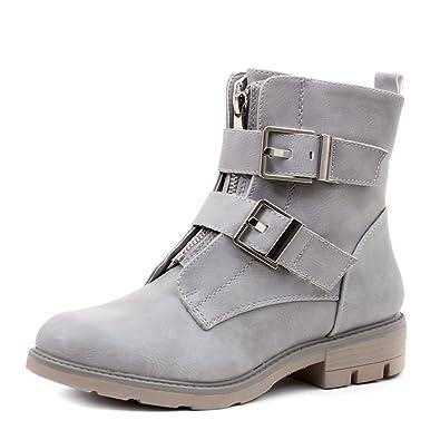 4ff8b3271a2c Damen Nieten Stiefel Biker Boots mit Schnallen Stiefeletten in Lederoptik  Schwarz 36 Marimo Billig Extrem Spielraum